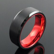 Tungsten Black Brushed Beveled Edge w/ Polished Red Band Ring Size 10