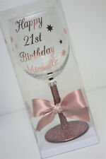 Personalised Name Happy Birthday Glitter Wine Glass 18th 21st 30th  Rose Gold C