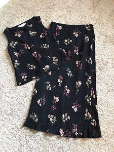 Jones New York Petite 2 Piece Maxi Skirt Blouse Top Set Black Multi 8 Petite
