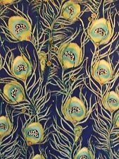 Pretty as a Peacock 100% cotton fabric by the yard - COBALT Feather print