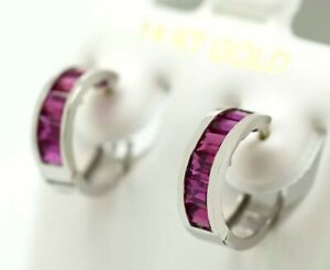 RUBY 2.68 Cts HUGGIE EARRINGS 14K WHITE GOLD * Made in USA* New With Tag*