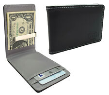 Mens Wallet Black Grey Fold Leather Money Clip Card Holder