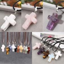 1X Cross Natural Stone Quartz Charms Pendant / Necklace Women Men Jewelry Choker