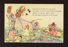 Animals PIGS Lady-bird Lady-bird Artist Hazel Singer unused c1940s? PPC by Dixon