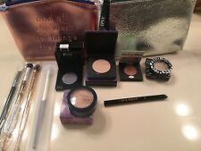 Ipsy Silver/Gold Bag Plus 10 Items Brushes Highlighters Eyeshadow Liquid Liner