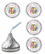 108 PERSONALIZED DISNEY PRINCESS BIRTHDAY PARTY KISSES  FAVORS STICKERS DECALS