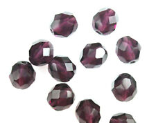 10 Amethyst Faceted Round Fire Polished Glass Beads 8MM