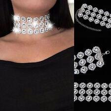 Lady Diamante Choker Rhinestone Silver Crystal Party Bridal Necklace Fashion*