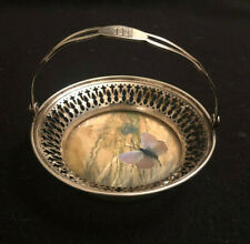 Wallace Sterling Silver Bon-bon Basket with Butterfly Inlay