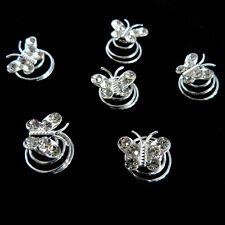 6 épingles spirales twister cheveux court chignon mariage papillon cristal blanc