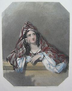 REBECCA   junge Frau Mode Tracht sehr schöner kolorierter Stahlstich 1860