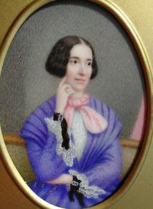 Antique Portrait Miniature Painting Lady 1850's  Sofa Curtain Signed Fairfield