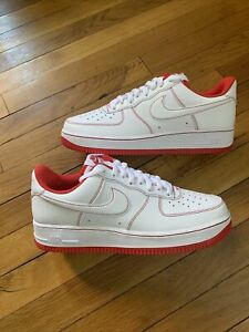Nike Air Force 1 07 White University Red Stitch Shoes CV1724-100 Men's Size 10