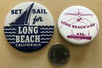 Lot of 2 Long Beach California Travel Souvenirs Pinbacks Buttons #33965