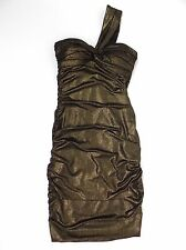 Cache Metallic Bodycon Mini Dress Womens Size 2 Black Gold Ruched Sides Padded