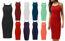Viscose Patternless Strappy Dresses for Women