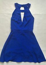 CREAM AND SUGAR Keyhole Skater Dress, Blue Size Small