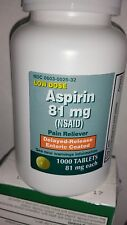 New Low Dose Aspirin 81mg NSAID Delayed Release Enteric Coated 1000, 12/2017***
