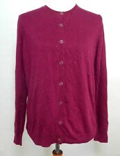 Nicole Miller Women's Large Cardigan Berry Purple Metallic Threads Button Front