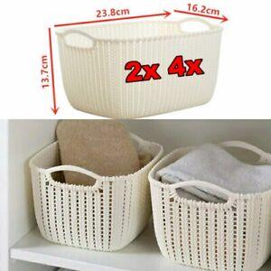 Curver Rectangle Handle Plastic Storage Basket Rattan White Stackable Heavy Duty
