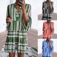 Women Boho Flare Sleeve Mini Dress Summer Beach Tunic Top Loose Holiday Sundress