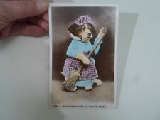 "Gorgeous Vintage Cute Dog Old Postcard ""A WOMANS WORK IS NEVER DONE""  §A1404"