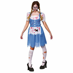 Ladies Zombie Dorothy Adult Halloween Fancy Dress Costume Size XS UK 6-8