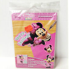 Minnie Mouse Disney Birthday Invitations Pack of 8 + Save The Date Stickers NEW