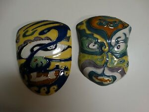 PAIR VINTAGE POTTERY MASKS WALL DECOR