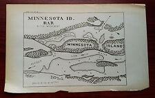 Early 1900's Minnesota ID Bar Island Mississippi River Shoal Sketch Map