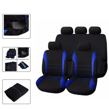 9 Parts Black Blue Universal Car Seat Covers Front +Rear w/Head Rest Full Set