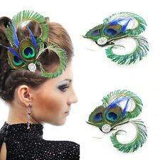 Vintage Hair Accessories Wedding Gift Peacock Feather Crystal Clip Fascinator