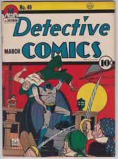 Detective Comics #49 VG+ 4.5 Batman Robin Clayface Slam Bradley 1941!