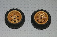 LEGO 2 Technic Rad Reifen perl Gold Felge 56145 inkl Profilbereifung Batman BWGg