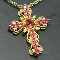 0.50 Ct Round Cut Pink Sapphire Cross Pendant Charm 14k Yellow Gold Over