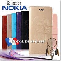 Etui coque housse Dreamcatcher Owl Wallet case cover Nokia Collection - Films