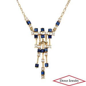 "Estate Diamond Sapphire 14K Gold 15"" Long Dangle Pendant Necklace 6.1 Gr NR"