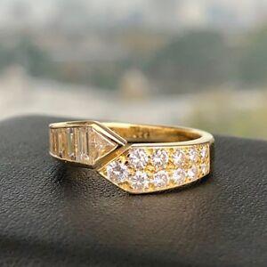 VCA Van Cleef & Arpels Ring w/ Round & Baguette Diamonds 18k Yellow Gold Size 6