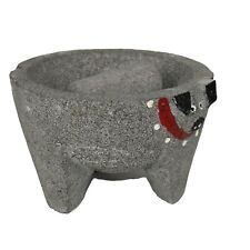 """OUTLET 7.5"""" PIG HEAD GUACAMOLE MOLCAJETE MORTAR AND PESTLE  STONE"""