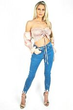 Pink Diva - Light Denim Frayed Hem Skinny Jeans