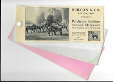 Vintage Celluloid Blotter Burton & Co Percheron Horses Kenton Oh Stallions Mares