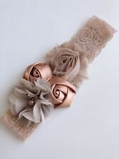 Baby Shower Kid Girl wedding Party Brown Beige Rose Crystal hair band Headband