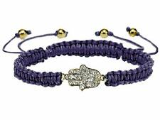 Juicy Couture Statement Bracelet Protection Hamsa Hand Pave Crystal Purple Cord