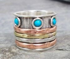 Turquoise Spinner Sterling Silver Fine Rings