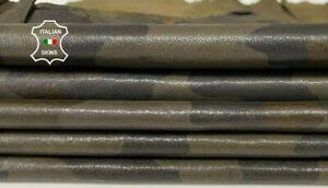 CAMO OLIVE ARMY print Italian Lambskin leather 2 skins total 12sqf 0.8mm #A7904