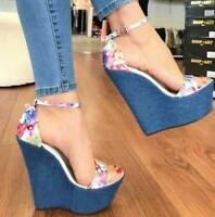 Womens High Wedge Platform Jeans Heels Floral Ankle Strap Sandals Shoes HOT H153
