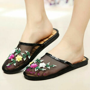 Women Flat Floral Slippers Loafers Mesh Slides Sandals Chinese Ethnic Mules 2021