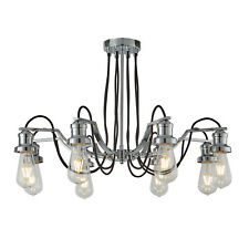 Searchlight Olivia 8 Lights Black Braided Fabric Cable Chrome Ceiling Chandelier