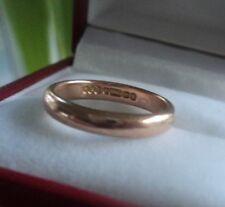 Vintage 9ct Rose Gold Wedding Ring or Band h/m 1940 Birmingham  -  size J / K