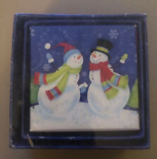 Lindy Bowman Christmas Jewelry Boxes Lot of 3 Stackable ⛄️ Snowmen New